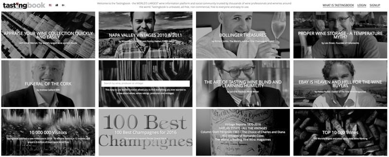 Tastingbook.com has today over one million pages of wine information, over 400,000 pro tasting notes and around 1.5 million visitors every month.