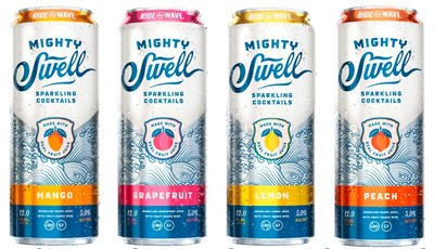 Mighty Swell Sparkling Cocktails are available in 4 flavors: Mango, Grapefruit, Lemon and Peach