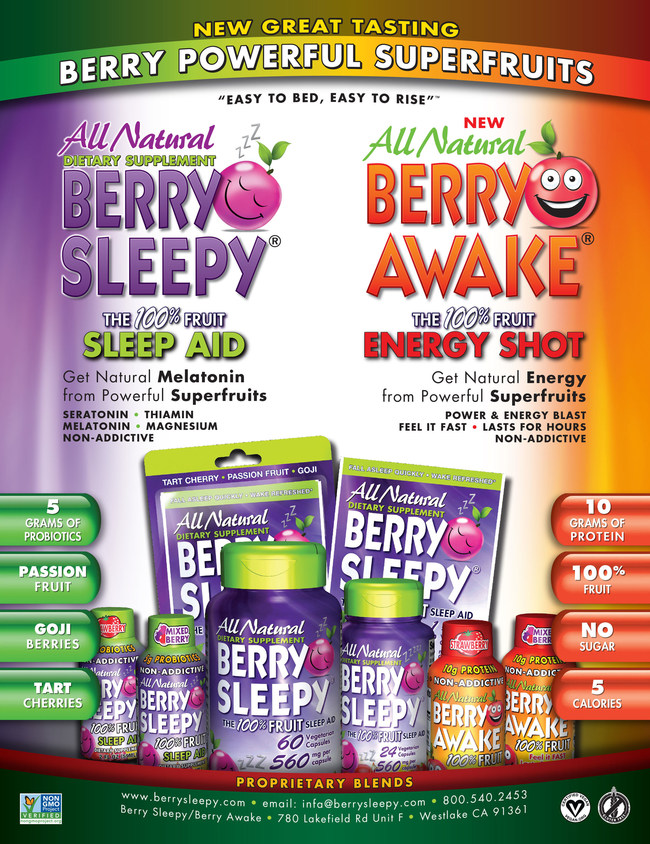 Berry Sleepy and Berry Awake  All Natural Dietary Supplements