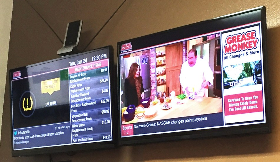 10 Foot Wave's Digital Signage helps Grease Monkey engage, educate, and entertain the customers in their stores.