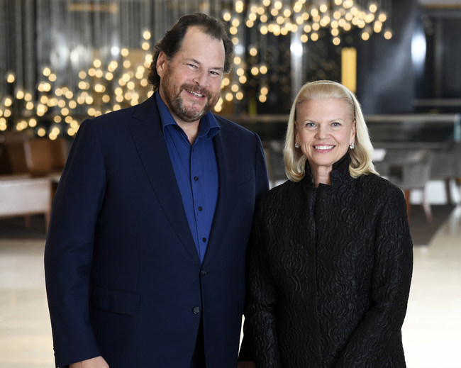 On Monday, March 6, Salesforce Chairman and CEO, Marc Benioff and IBM Chairman, President and CEO Ginni Rometty announced a global strategic partnership to deliver joint artificial intelligent solutions that will enable companies to make smarter decisions, faster than ever before. (Photo Credit: Jon Simon/Feature Photo Service for IBM)