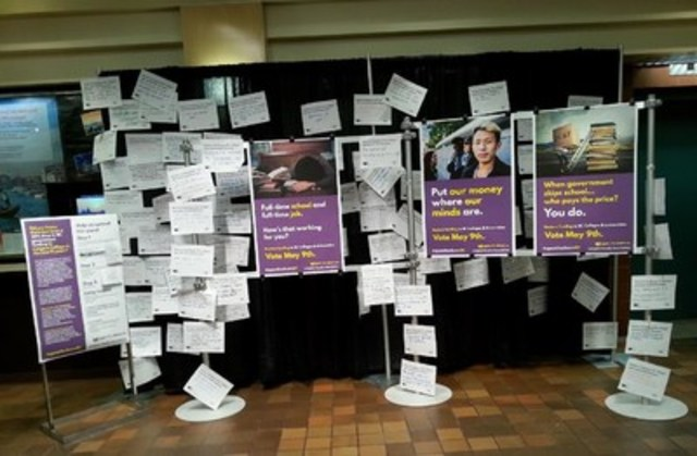 Display of Langara Faculty Association Campaign Materials (CNW Group/Langara Faculty Association)