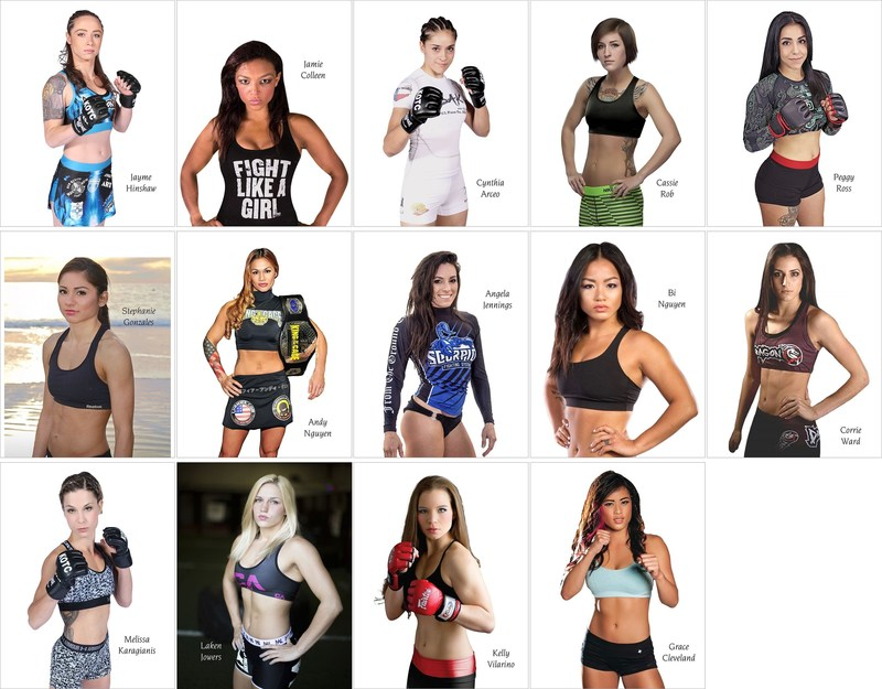 Photos of Women's MMA Fighters at King of the Cage, from top-left: Jayme Hinshaw, Jamie Colleen, Cynthia Arceo, Cassie Robb, Peggy Ross, Stephanie Gonzales, Andy Nguyen, Angela Jennings, Bi Nguyen, Corrie Ward, Melissa Karagianis, Laken Jowers, Kelly Vilarino, and Grace Cleveland.