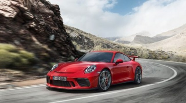 Developed on the same test track and manufactured on the same production line as the racing cars, Porsche's motorsport technology has once again been incorporated into a road-approved sports car with the reveal of the 2018 Porsche 911 GT3. (CNW Group/Porsche Cars Canada)