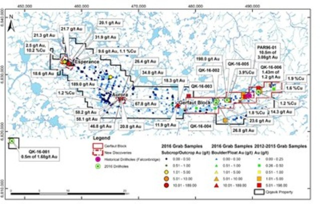 Figure 2: Map of Qiqavik Property Showing Significant Gold and Copper Exploration Results (CNW Group/RNC Minerals)