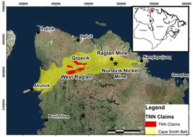 Figure 1: Localisation des projets Qiqavik et West Raglan dans la ceinture du Cap Smith au Nord-du-Québec (Groupe CNW/RNC Minerals)