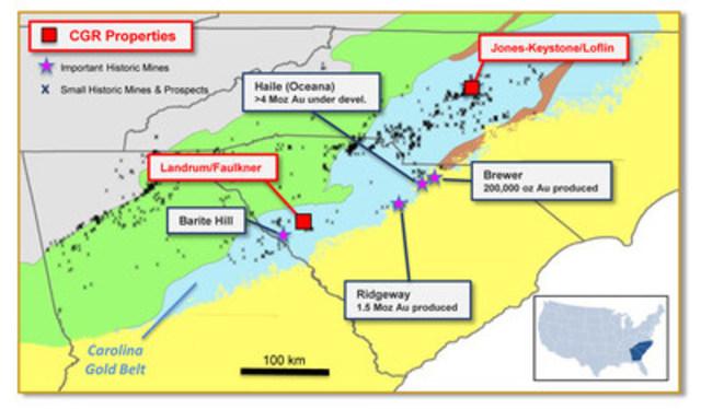 Figure 3: Localisation des Projets de CGR dans la ceinture aurifère de la Caroline, Caroline du Nord et du Sud (Groupe CNW/RNC Minerals)