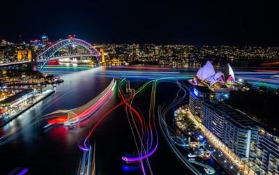 Sydney Harbour at Vivid Sydney 2016 credit Destination NSW (PRNewsFoto/Destination NSW)