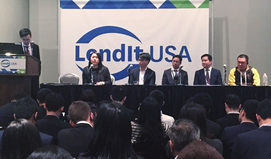 Ms. Linda Wong (first from the left), the president of Neo Financial, shares opinions about FinTech in a panel discussion of LendIt 2017.
