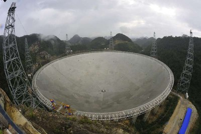 FAST, the world's largest radio telescope, is in trial operation after 3 years of construction, attracting huge public attention. Photographer: Li Guiyun