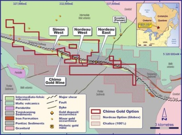 Figure 1. Local geology, gold deposits and occurrences, East Cadillac Gold project. (CNW Group/Chalice Gold Mines Limited)