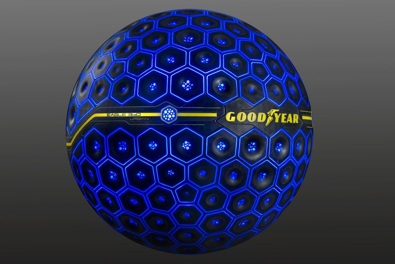 The Goodyear Tire & Rubber Company's spherical-shaped Eagle 360 Urban concept tire applies emerging technologies such as artificial intelligence and vehicle-to-everything (V2X) connectivity to help the autonomous vehicles of the future navigate the millions of possible unknowns motorists face in every day driving. The tire was unveiled March 7 at the 87th Geneva International Motor Show.
