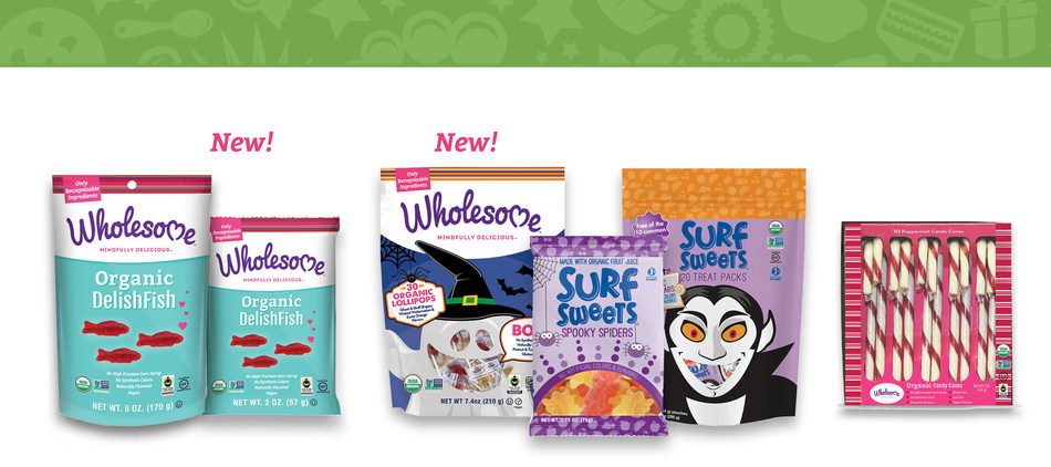 The Wholesome! brand's latest focus is launching delicious candy made with clean ingredients. Organic DelishFish is the brand's first candy. Made without synthetic colors, flavors or corn syrup, it's also gluten-free, vegan and kosher. Wholesome! also has seasonal candy: Organic Ghost and Skull Lollipops for Halloween and Organic Candy Canes for Christmas. Sister brand Surf Sweets, known for delicious, allergy-friendly candy, has a new Trick or Treat candy pack and Spooky Spiders for Halloween