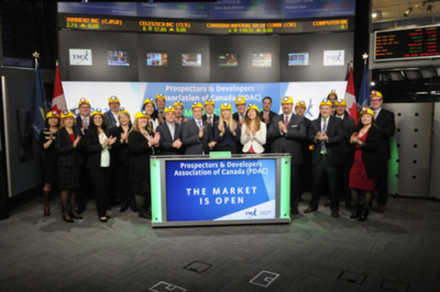 Glenn Mullan, President, Prospectors & Developers Association of Canada (PDAC), joined Orlee Wertheim, Head Business Development, Global Mining, Toronto Stock Exchange and TSX Venture Exchange to open the market. PDAC's annual convention is taking place from March 5-8, 2017 at The Metro Toronto Convention Centre. With a membership of over 8,000, the PDAC's mission is to promote a responsible, vibrant and sustainable Canadian mineral exploration and development sector. The PDAC encourages leading practices in technical, environmental, safety and social performance in Canada and internationally. Since it began in 1932, the annual PDAC Convention has grown in size and scope. In 2016, the event included nearly 1,000 exhibitors and over 22,000 attendees from 125 countries, as well as numerous technical sessions, short courses, social and networking events. (CNW Group/TMX Group Limited)