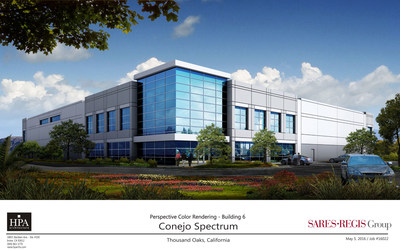 Rendering shows one of nine buildings in Conejo Spectrum in Thousand Oaks set for completion this year by SRG Commercial Development.
