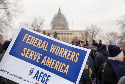 American Federation of Government Employees members rally on Capitol Hill