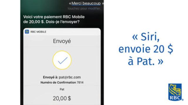RBC offre désormais aux particuliers la possibilité d'effectuer des télévirements Siri – aussi simple que dire : « Siri, envoie 20 $ à Pat ». (Groupe CNW/RBC Banque Royale)