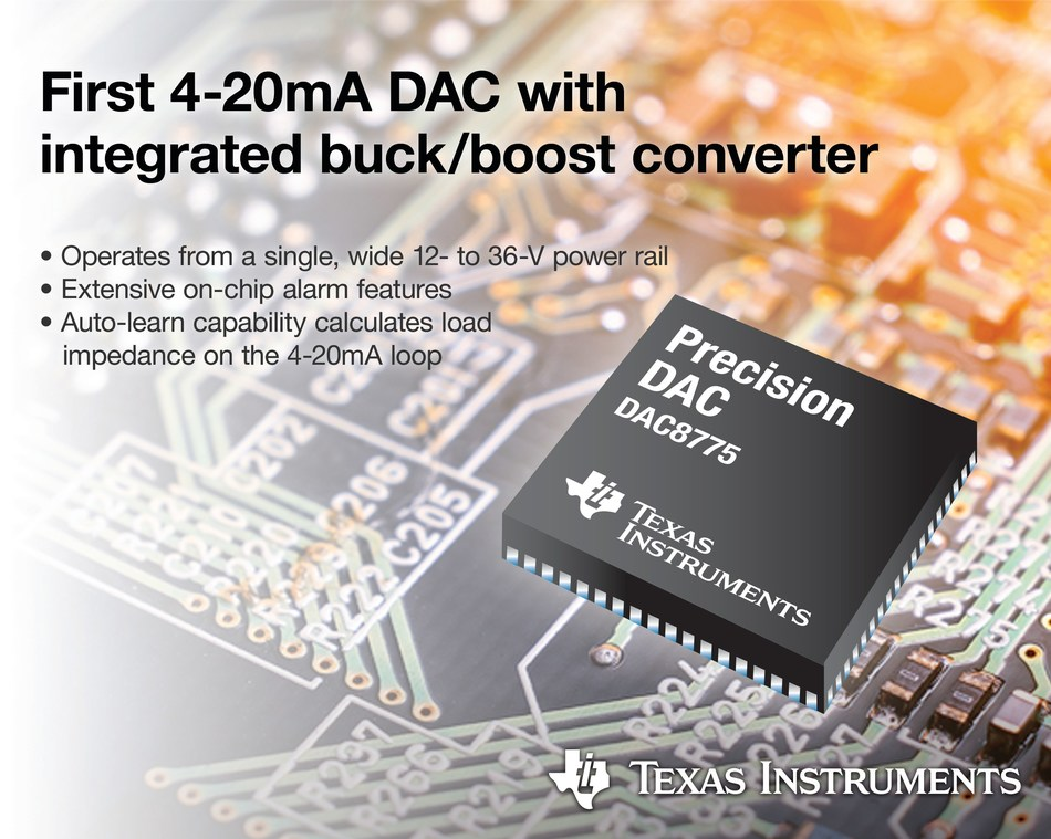 TI introduces industry's first 4-20mA DAC with integrated buck/boost converter that operates off of a single-supply