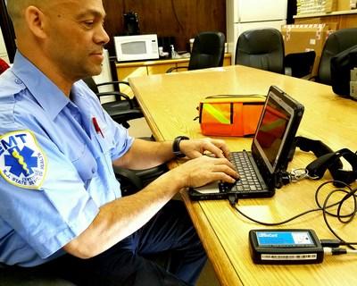Miguel Guerrero, University Hospital EMT using the new portable Cardio Card 12 lead EKG System