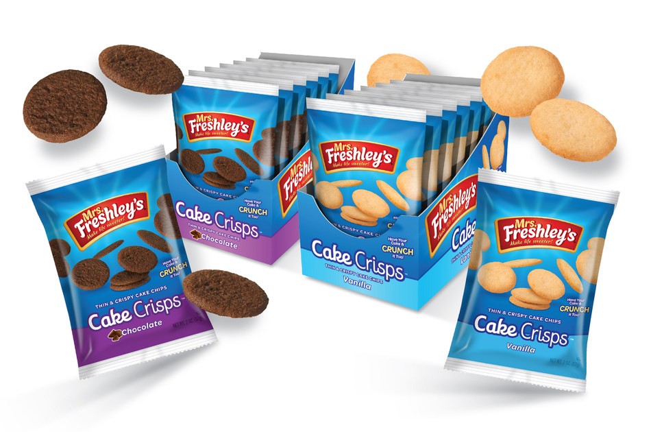 Mrs. Freshley's introduces chocolate and vanilla Cake Crisps, individually portioned sweet treats perfect for snack time.