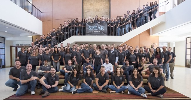 "Spear Education's entire team helped the organization make the ""100 Best Companies in Arizona"" list. Here the team poses for a group photo at Spear's campus."