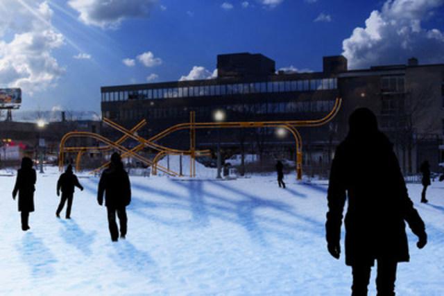 Une des 4 oeuvres de lumière de Faisceaux d'histoire. (Crédit : Photo-montage : ATOMIC3) (Groupe CNW/Ville de Montréal - Arrondissement de Villeray - Saint-Michel - Parc-Extension)
