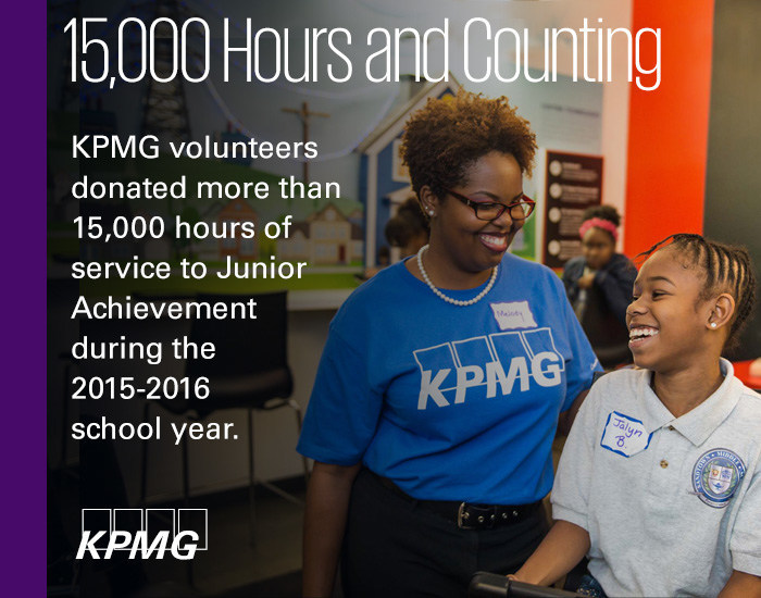 KPMG LLP was honored by Junior Achievement USA with a Gold U.S. President's Volunteer Service Award for service hours donated during the 2015-16 school year.