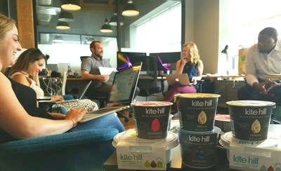 SRW co-founders Brian Rolling and Kate Weidner lead their crew (Art Director Lauren Hayes, Producer Julie Brown, and Lead Analyst Esosa Ogbomo) in a team meeting, and product tasting, at the company's Fulton Market offices.
