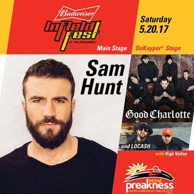 Platinum Selling Artist Sam Hunt to Headline Budweiser InfieldFest at the 142nd Preakness Stakes