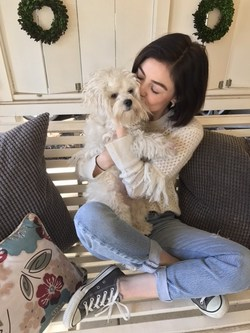 Actress Lucy Hale spends some quality time with her furry best friend, Elvis, as a part of Cesar(R) Brand's Women's Best Friend Too campaign.
