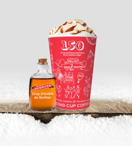 Le verre Second Cup célébrant les 150 ans du Canada et le nouveau Latte au sirop d'érable pur du Québec (Groupe CNW/Second Cup Café & Cie)