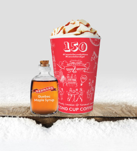 Second Cup Canada 150 cup and new ReCrafted Maple Latte featuring pure maple syrup from Quebec (CNW Group/Second Cup Coffee Co.)