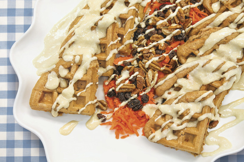 Carrot Cake Waffles with Maple Cream Cheese Drizzle Photo Courtesy of ALDI