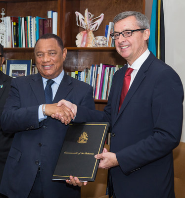 At a signing ceremony attended by Perry Christie, Prime Minister of The Bahamas (left) and Michael Bayley, president and CEO, Royal Caribbean International (right), the cruise line committed to a multi-year agreement with the island nation of The Bahamas that will help grow tourism to the destination, rapidly increase the cruise line's employment of Bahamian nationals, invest in hospitality training to develop talent in the country and upgrade the CocoCay, the line's private island destination.