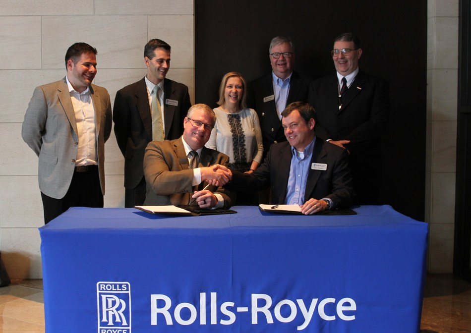 Front Row (left to right): Ty Genteman, Aviall Senior Manager, Helicopter Programs; Jerry Sheldon, Rolls-Royce, Helicopter Services Executive Back Row (left to right): Richard Cardozo, Aviall Marketing Product Line Analyst; Jason Propes, Rolls-Royce Senior Vice President, Helicopters & Light Turboprop Engines; Dana Sundell, Aviall Director, Commercial Engine Sales; Jim Payton, Rolls-Royce Vice President Customer Business; Scott Baier, Rolls-Royce Senior Manager Helicopter Fleet Operations