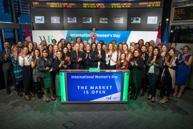 Alina Polonskaia, Principal and Leader of Diversity and Inclusion, Mercer, and Catherine Reitman, Creator, Executive Producer, Writer and Star of Workin' Moms, joined Tanya Rowntree, VP, Regional Sales, TSX Trust, and Co-Chair, WE Canada to open the market. For a third year, Women in ETFs is partnering with UN Global Compact, UN Women, the Sustainable Stock Exchanges (SSE) Initiative, IFC, and the World Federation of Stock Exchanges. Market opens will be held in over 40 exchanges globally to raise awareness about the business case for women's economic empowerment and the opportunities for the private sector to advance gender equality and sustainable development and focus on this year's theme, Women at Work. For more information, please visit www.womeninetfs.com. (CNW Group/TMX Group Limited)