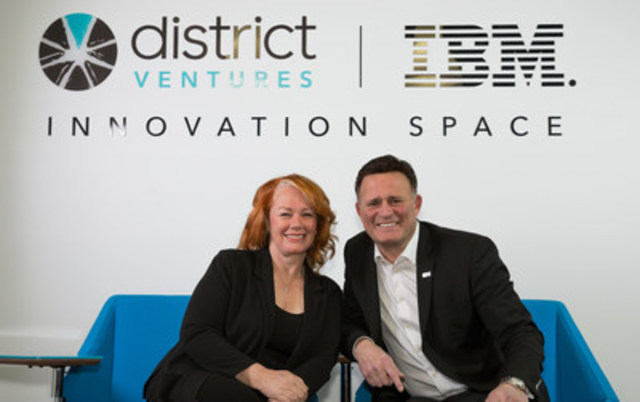 Today, Dino Trevisani, President of IBM Canada, and Arlene Dickinson, CEO of District Ventures, were in Calgary to announce the launch of the District Ventures and IBM Innovation Space – Calgary, a new innovation accelerator designed to bring entrepreneurs and big enterprise together to solve some of Canada's biggest business challenges. (CNW Group/District Ventures)