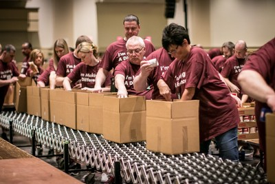 Over 400 BJ's Wholesale Club Team Members came together during the company's Annual Team Member Conference in Orlando, Florida to build 4,500 Healthy Pantry Boxes and repack 40,000 pounds of farm-fresh potatoes into family-sized packs for Second Harvest Food Bank of Central Florida.