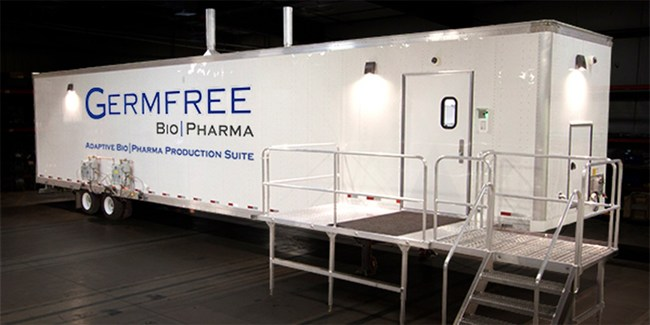Mobile Adaptive Bioproduction Suite - Manufactured by GERMFREE, a US company. This flexible cleanroom trailer is the first of its kind to provide configurable space for cGMP production, R&D and biocontainment within a self-contained mobile platform. To be debuted at INTERPHEX March 21-23, 2017 at the Jacob Javits Center in New York, New York.