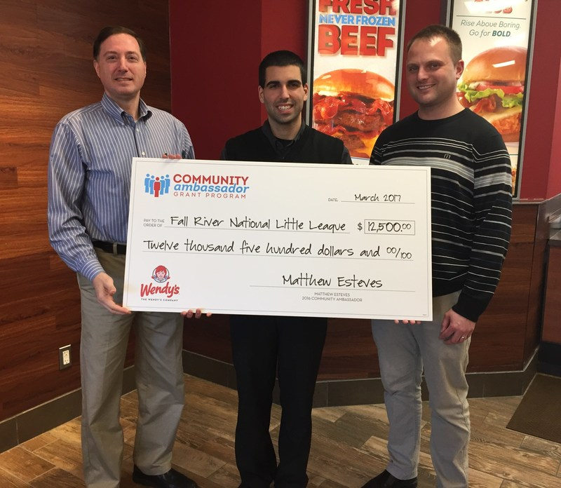 Wendy's Community Ambassador of the Year, Matthew Esteves (middle), with Boston Director of Area Operations Bob Meyers (left) and District Manager Keith Helger (right).