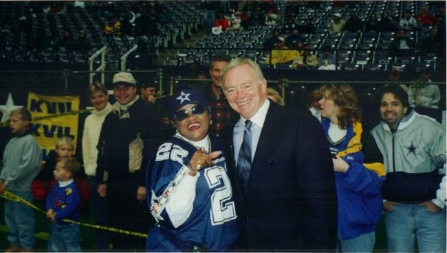 Ms. Carolyn M. Price with Dallas Cowboys owner Jerry Jones