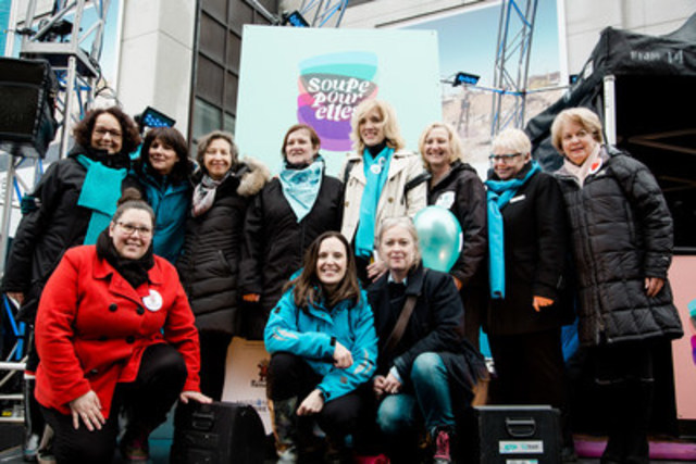 Sophie Brochu, president and CEO of Gaz Métro and instigator of the Soupe pour elles movement, and Stéphanie Trudeau, Senior Vice President Regulatory, Customers and Communities with presidentes of the nine organizations. (CNW Group/Gaz Métro)