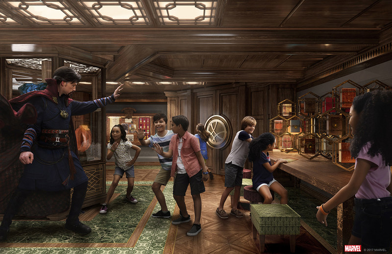 In Disney's Oceaneer Club aboard the Disney Fantasy, young guests will learn the ways of the mystic arts with Doctor Strange in the all-new Marvel Super Hero Academy. Children will also interact with and open portals to diverse locales around the Marvel Universe and immerse themselves in an exclusive gaming experience. This new space on the Disney Fantasy debuts on the May 17 three-night voyage from Port Canaveral. (Artist Concept)