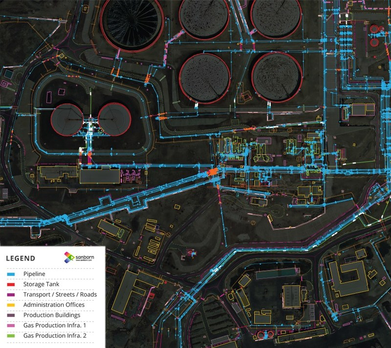 Image from oil and gas infrastructure project showing 3D planimetric mapping data extracted from high-resolution orthoimagery.