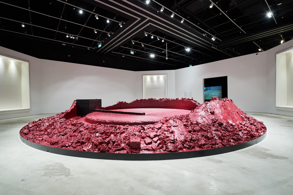 Anish Kapoor's 'My Red Homeland' (2003) at 'The Creative Act: Performance, Process, Presence', the second exhibition of artworks from the Guggenheim Abu Dhabi collection. Image courtesy of Abu Dhabi Tourism & Culture Authority (PRNewsFoto/Abu Dhabi Tourism)