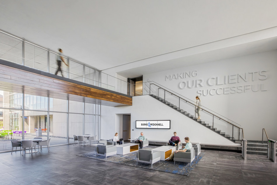 """Burns & McDonnell features its mission statement on their lobby wall, """"Making our clients successful."""""""