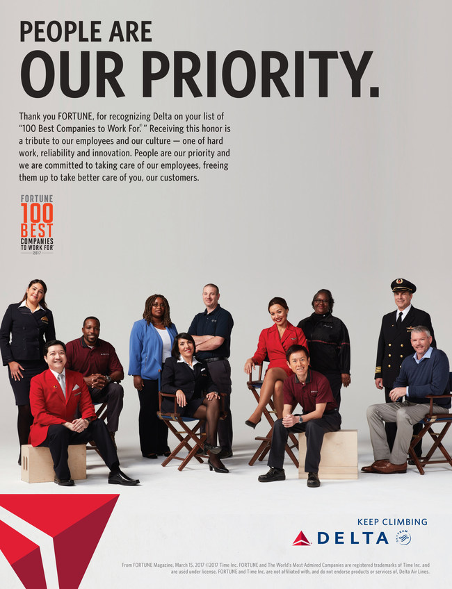 Fortune names Delta one of the 100 Best Companies to Work For