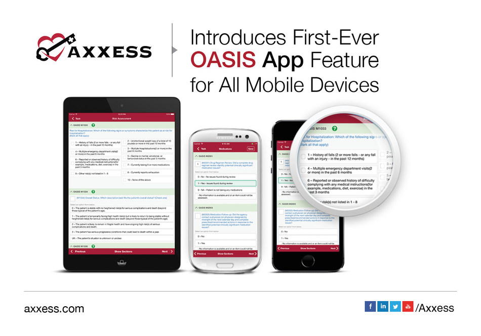 Axxess introduces first-ever OASIS app feature for all mobile devices.