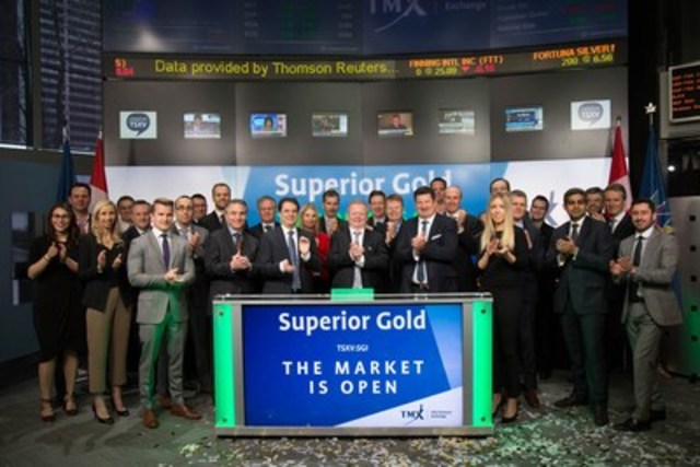Chris Bradbrook, President, CEO and Director, Superior Gold Inc. (SGI), joined Tim Babcock, Director, Listed Issuer Services, TSX Venture Exchange to open the market. Superior Gold's principal business objectives are the acquisition, exploration, development and operation of gold resource properties. The Corporation's principal asset is the Plutonic Gold Operations, located in Australia. Superior Gold Inc. commenced trading on TSX Venture Exchange on February 23, 2017. (CNW Group/TMX Group Limited)