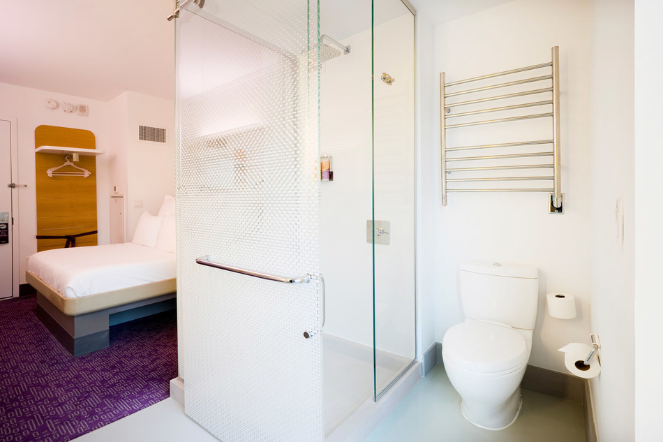 Amba Product's Radiant Heated Towel Rack in YOTEL located in New York.
